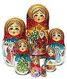 Santa's Workshop 7 Piece Babushka Russian Christmas Matryoshka Hand Painted Stacking Doll