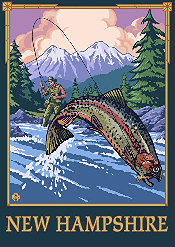 New Hampshire - Angler Fly Fishing Scene (Leaping Trout) (24x36 SIGNED Print Master Giclee Print w/Certificate of Authenticity - Wall Decor Travel Poster) ()