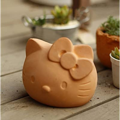 YOURNELO Cute Red Pottery Hello Kitty Flower Pot Succulent Planters Vase (A): Garden & Outdoor