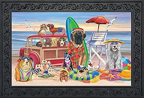 Dog Days of Summer Doormat Indoor Outdoor Beach Scene Dog Humor 18