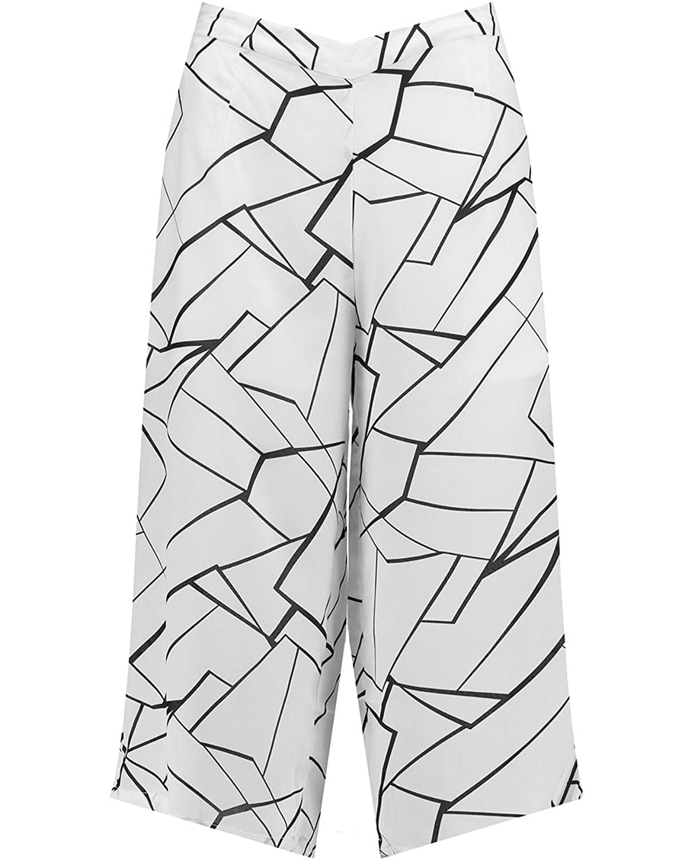 Blue Inc Woman Ladies White Crack Print High Waist Wide Leg Culottes Trousers