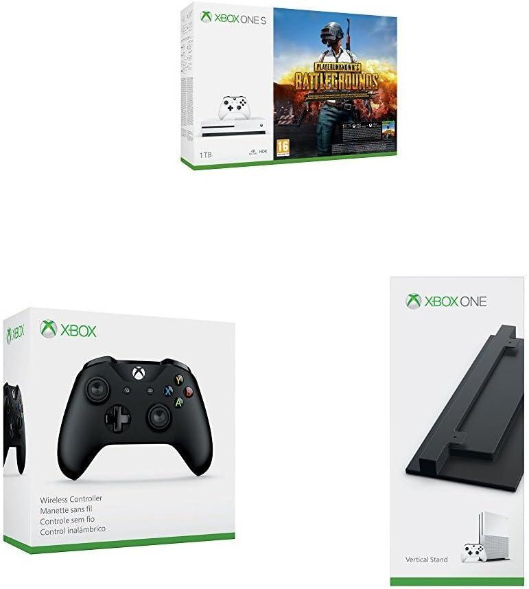 Xbox One - Consola 1 TB + PUBG + Mando Inalámbrico, Color Negro (Xbox One) Bluetooth + Soporte vertical para consola Xbox One S (negro): Amazon.es: Videojuegos