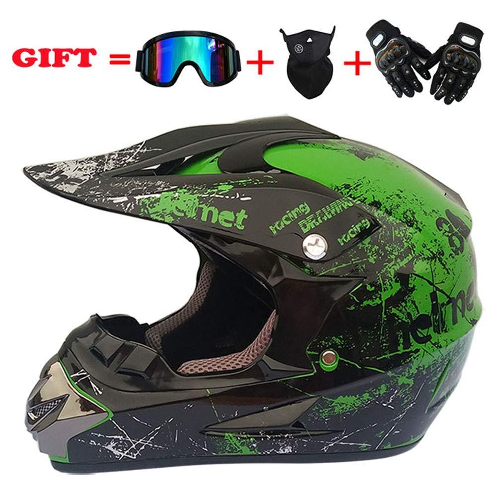 LYJNBB Erwachsener Jugend-Motocross-Helm f/ür ATV Dirt Bike MX Motorrad-Motorr/äder DOT-Zertifizierung Offroad-Helme Schutzbrillen Handschuhe Winddichte Mask Gear Combo