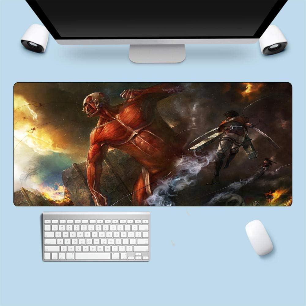 MSLFZ Alfombrillas de ratón,Attack On Titan Anime Grande Tapete De Mesa Grueso Tapete para Computadora Portátil Bordes Cosidos Antideslizante Estable XL