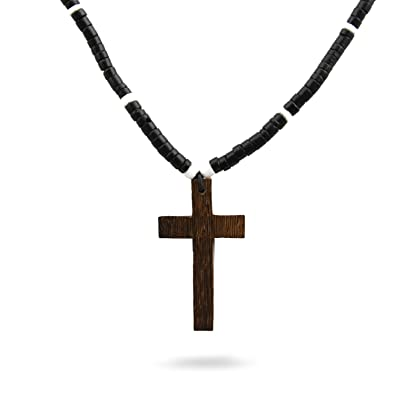 Jewelryvolt Black Brown Wooden Bead Christian Necklace Cross Pendant Rasta Wooden Necklace No Pendant