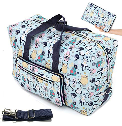 Womens Foldable Travel Duffel Bag 50L Large Cute Floral Travel Bag Hospital Bag Weekender Overnight Carry On Bag Checked Luggage Tote Bag For Girls Kids (cute cat)
