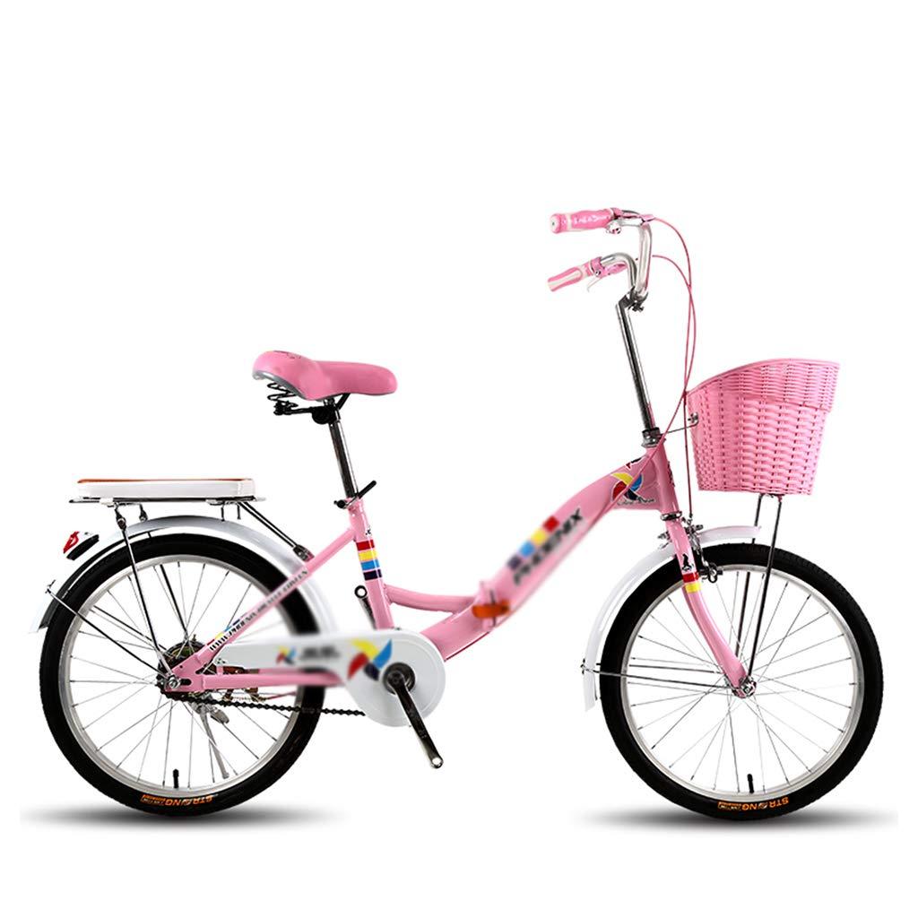 子ども用自転車 女の子バイク学生バイクシングルスピードバイクシティバイク子供バイク高炭素鋼フレーム、20インチ、パーフェクトギフト (Color : Pink, Size : 20inches) 20inches Pink B07MJP6SP8