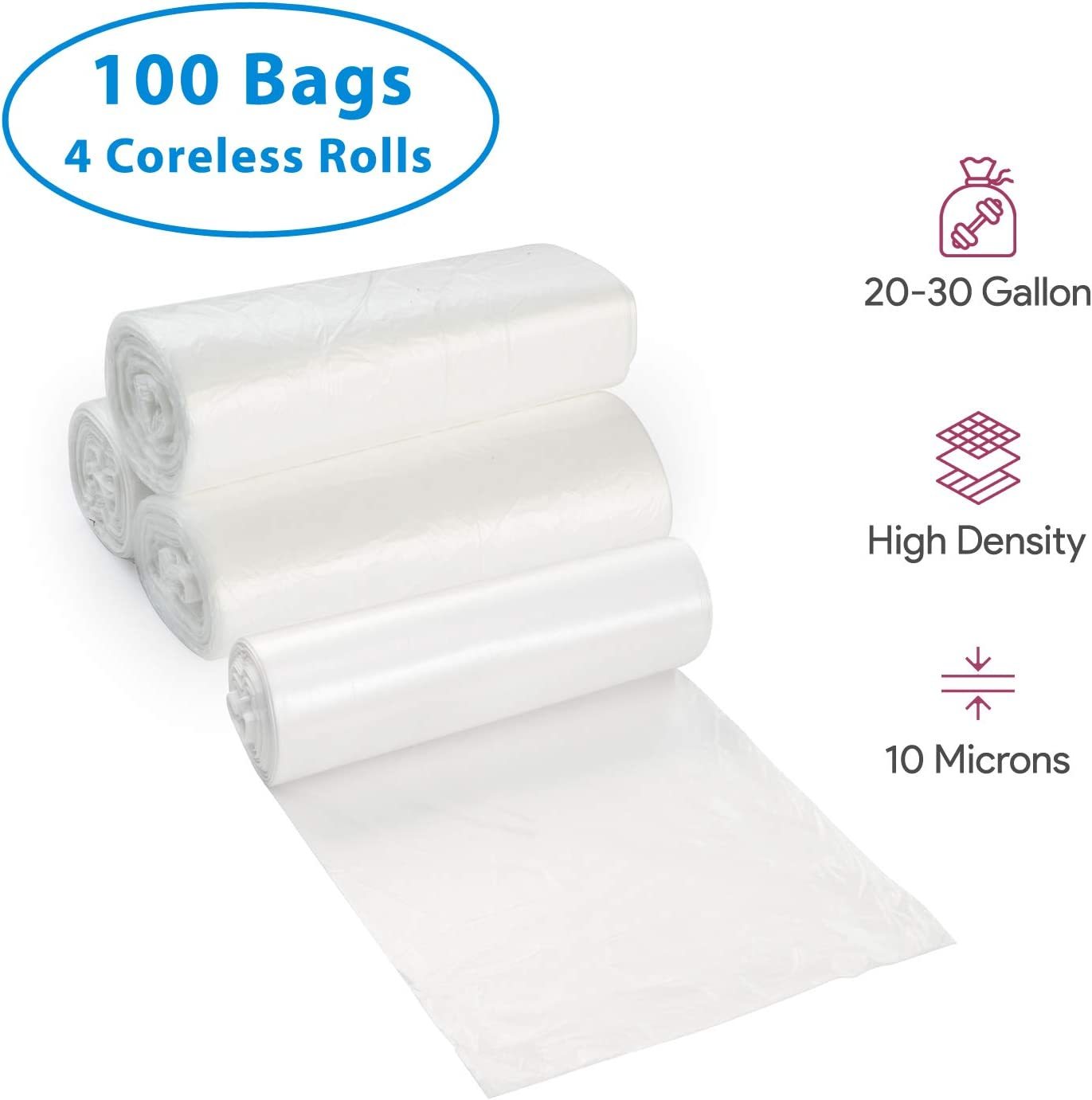 20-30 Gallon Clear Garbage Can Liners, 100 Count - Medium - Large Trash Can Liners - High Density, Thin, Lightweight, 10 Microns - For Office, Home, Hospital, Wastebaskets - 4 Coreless Rolls