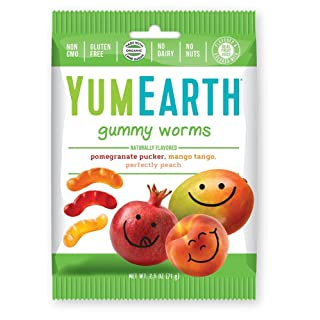 YumEarth Gluten Free Gummy Worms, Assorted Flavors, 2.5 Ounce Bag, 12 pack