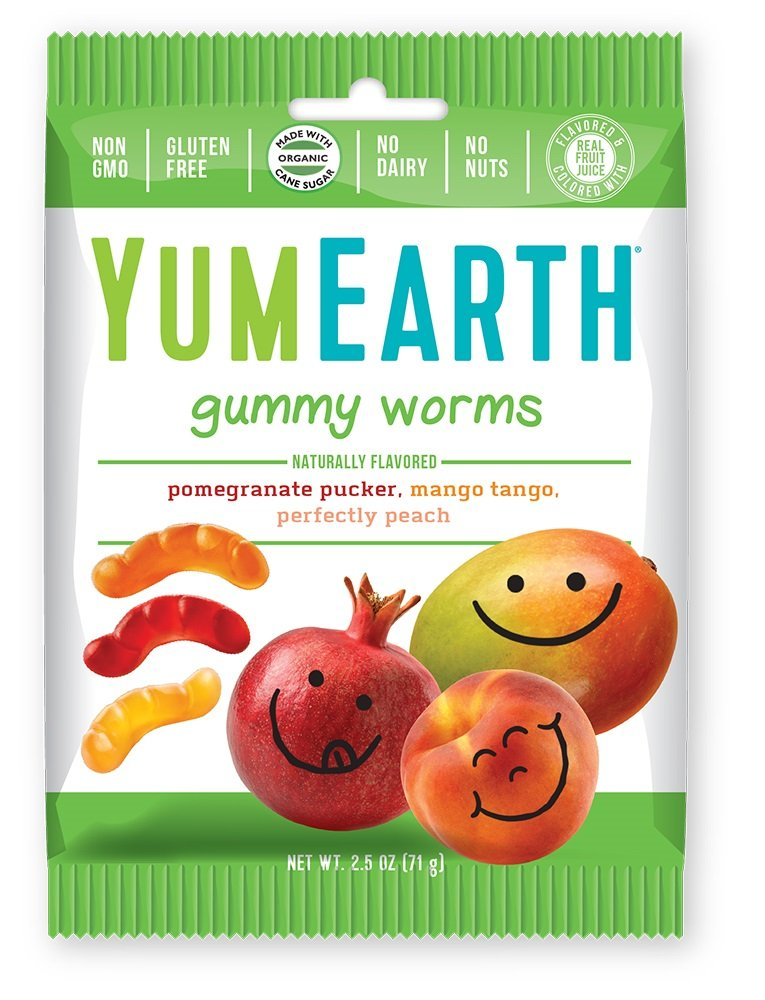 YumEarth Gummy Worms, Assorted Flavors, 2.5 Ounce Bag (Pack of 12)