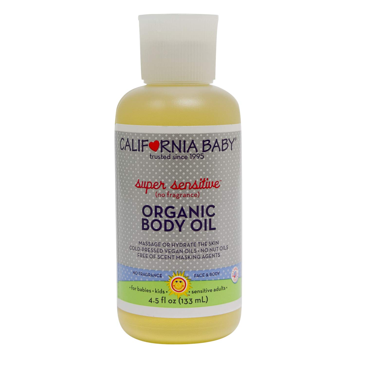 California Baby Super Sensitive Massage Oil | 100% Plant Based (excludes water) | Cold Pressed Vegan Oils for Arms, Legs, Back, and Body, Gentle on Sensitive Skin | Baby or Adult Use | (4.5 ounces) by California Baby