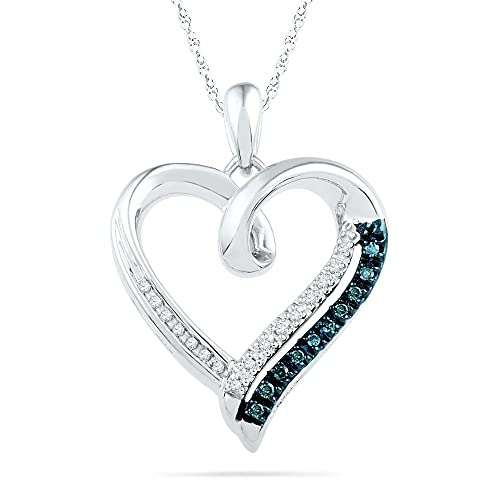 Sterling Silver Blue and White Round Diamond Heart Pendant 1 10 Cttw
