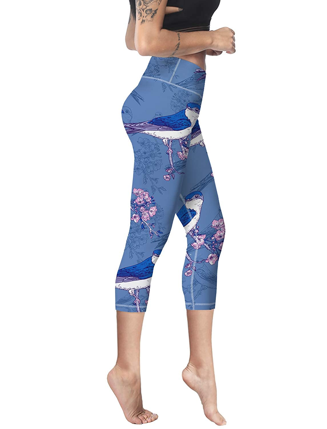 ca065dd1529b7 Capri Tights Running Workout Leggings Cropped Pants Birds on Plum Branches  Women Yoga Pant at Amazon Women's Clothing store: