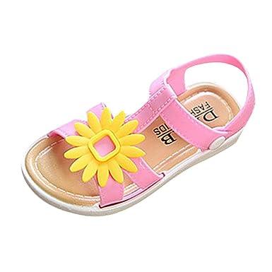 9f6d543bdcc3 Amazon.com  Minisoya Children Kids Infant Baby Girls Sunflower Sandals Beach  Flip Flops Slipper Non-Slip Princess Casual Shoes  Clothing