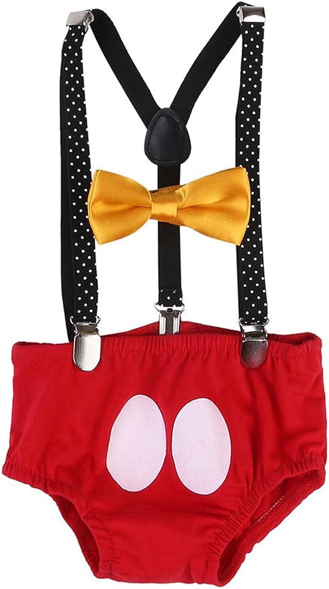 IWEMEK Ragazzi Ragazze Bambini Topolino Costumes 1 /° Papillon Fotografia Costume Prop 3PCS Outfits per Nozze Battesimo Compleanno Carnevale 2 /° Regolabile Y Bretelle 3 /° Compleanno Bloomers