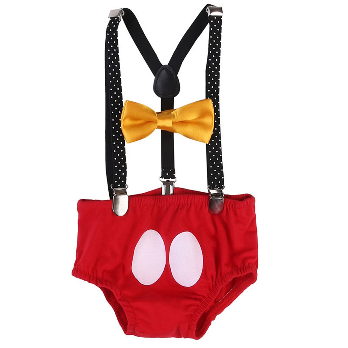 Baby Boys Adjustable Y Back Clip Suspenders Outfit First Birthday Bloomers Bowtie set Polka Dots + Black + Red One Size