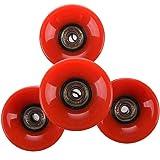 Outfun スケートボードホイール,四つのセットスケートボードホイール 6cmの直径と 4.5cmの幅  ペニーに適します 赤