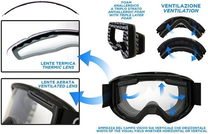 Ethen Maschera Motocross Enduro Mtb Lente Cilindrica Antiappannamento Doppio Strato Realizzata In Policarbonato Con Filtri Elastico Intercambiabile Made In Italy Sport Freizeit