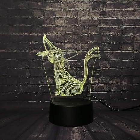 KangYD Pokemon Cat 3D Rgb Lamp, 3D Night Light, Atmosphere Lamp ...