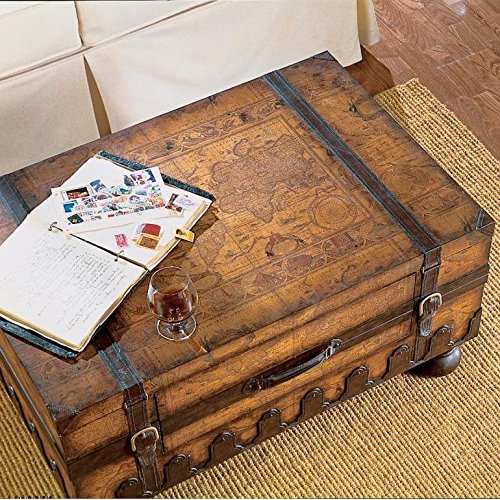 Trunk Coffee Table w Leather Appointments & World Map (Trunk Style Coffee Table Set)