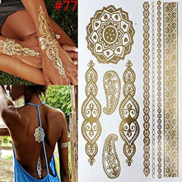 ced0838e4 Image Unavailable. Image not available for. Color: Temporary tattoo Gold  tattoo Flash Tattoos Leaf Tatoos Metallic jewelry Henna Tatouage Body art  ...