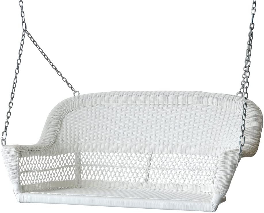 51.5 Hand Woven White Resin Wicker Outdoor Porch Swing with Hanging Chain 61tn7FYXWKLSL1000_