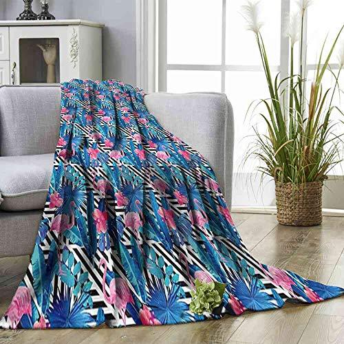 "Big datastore Blanket Banana Leaf,Watercolor Flamingo Blanket Travel Straps Size:50""x60"""