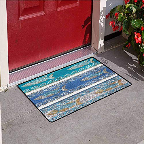(Jinguizi Mosaic Universal Door mat Ancient Style Byzantine Ceramics Inspired Maritime Fractal Fish Pattern Artwork Door mat Floor Decoration W23.6 x L35.4 Inch Slate Blue)