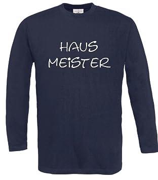 Langarm T-Shirt mit Druck HAUSMEISTER (Farbe navyblau) (Größe S)