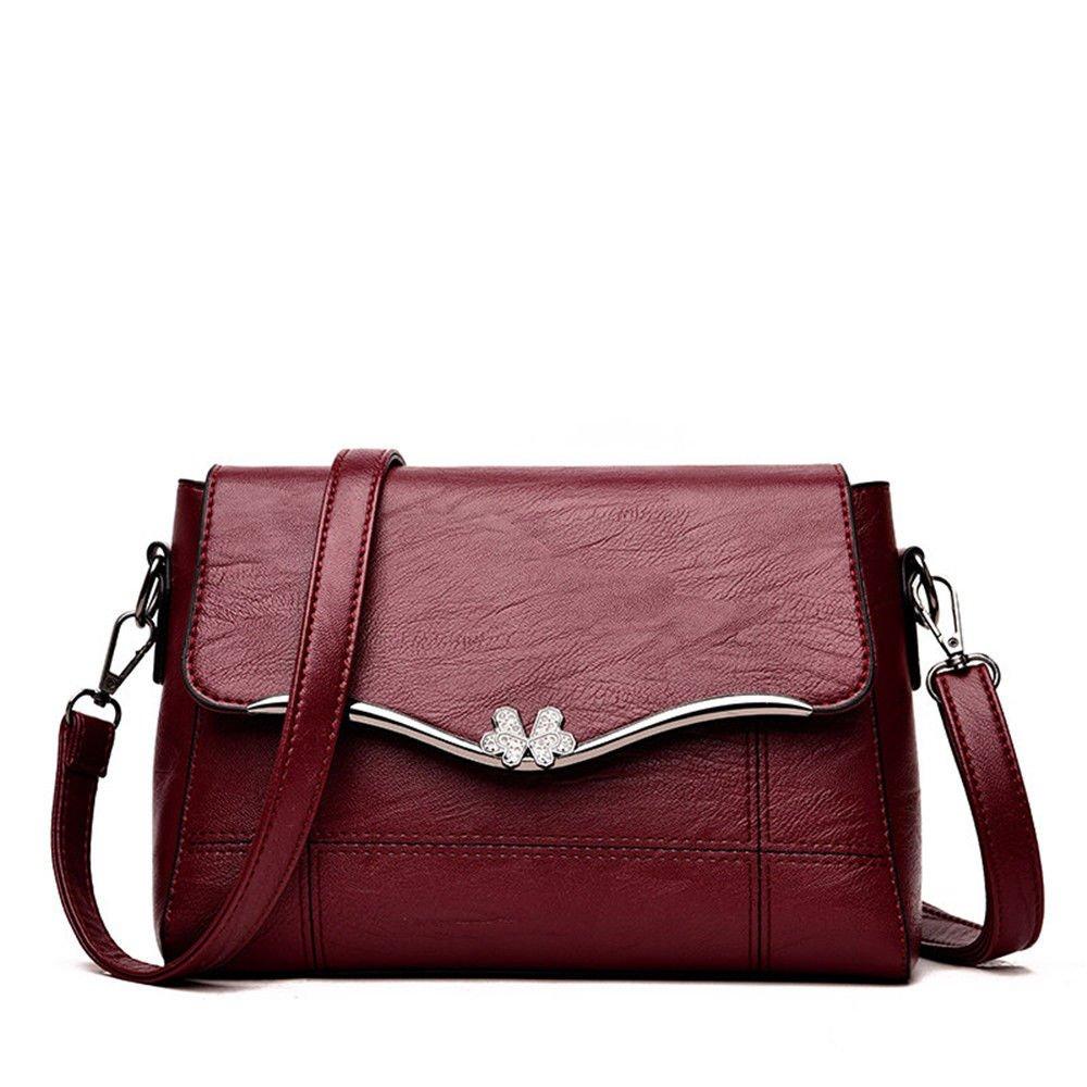 SJMMBB Slanted Soft Leather Bag In Spring,Gules,25X9X18Cm