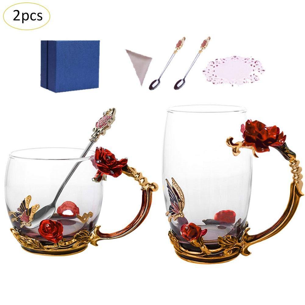 Longshow Enamel Rose Tea Cup High - Grade Crystal Glass Juice Couple Coffee Glass Set
