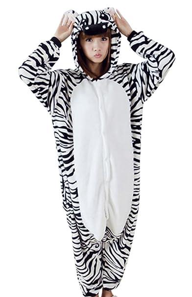 Gillbro animado animal adulto del traje de Cosplay de los pijamas, cebra, XL