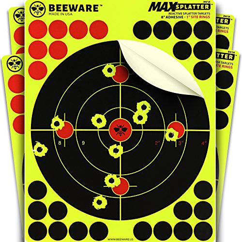 "BEEWARE - 8"" Adhesive Splatter Targets for Shooting - Premium Reactive Peel and Stick Shooting Targets - Indoor/Outdoor Ranges - Rifle - Pistol - Air Rifle - 22 - Pellet (22 Long Rifle Target)"