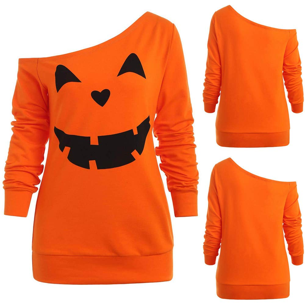 Amazon.com: Malbaba Halloween Costume, Halloween Pumpkin Print Long Sleeve Skew Collar Pullover Sweatshirt Blouse: Clothing