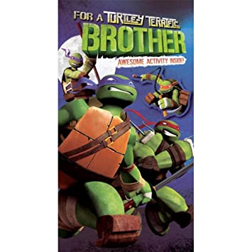 Teenage Mutant Ninja Turtles Brother Birthday Card With Free Badge