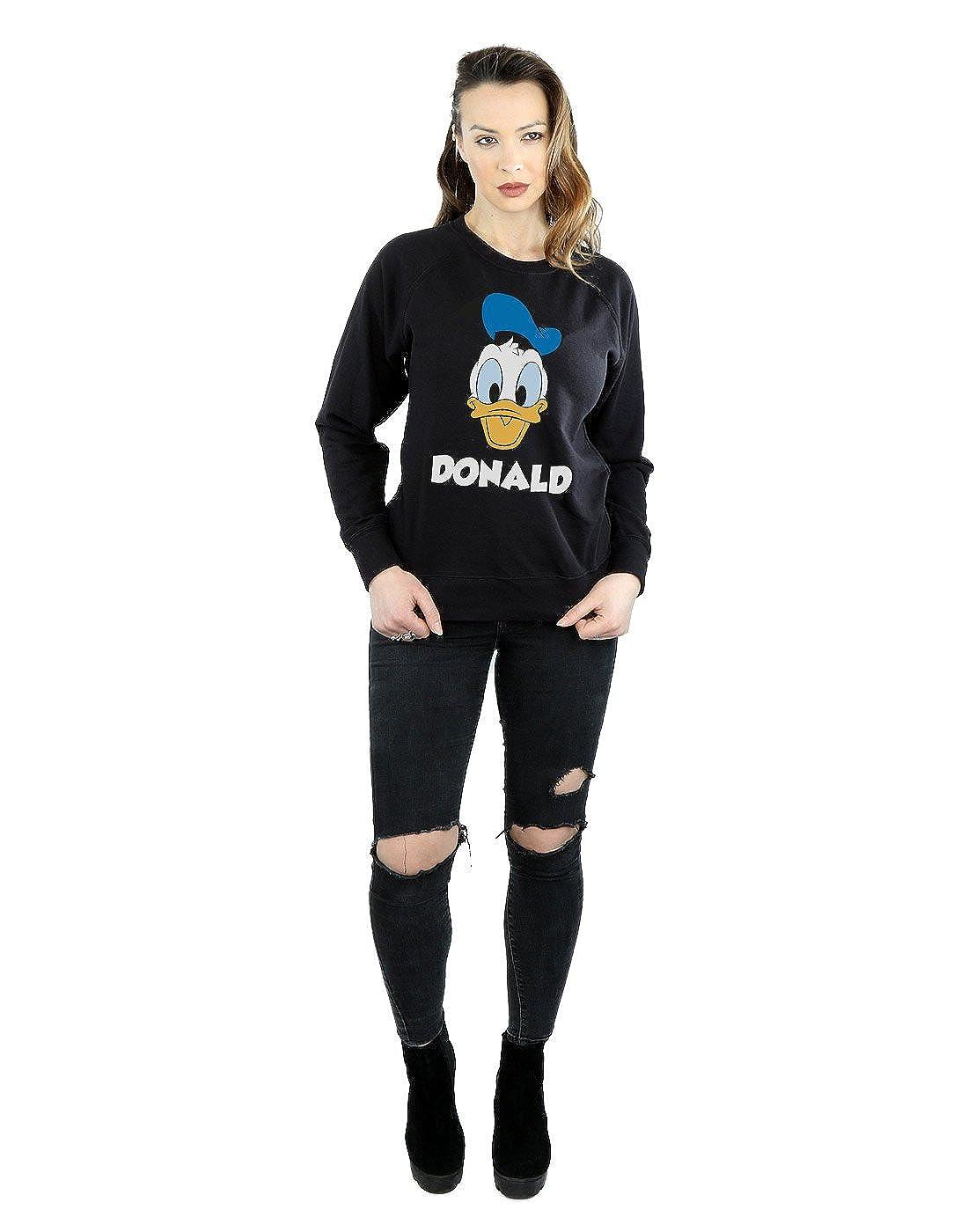 Disney Womens Donald Duck Face Sweatshirt