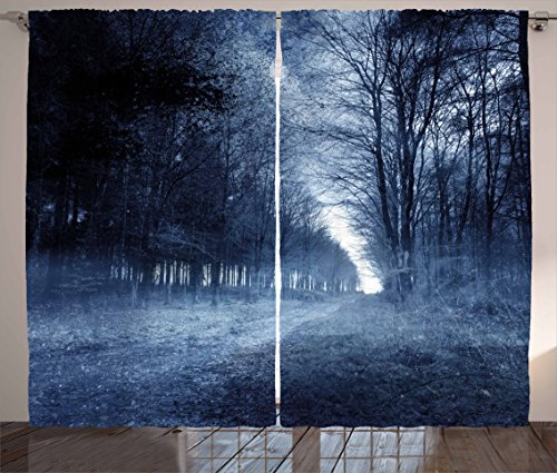 Halloween Curtains by Ambesonne, Ghostly Haunted Forest Image Bleak Gloomy Misty Nature Landscape, Living Room Bedroom Window Drapes 2 Panel Set, 108 W X 96 L Inches, White Black Light Blue