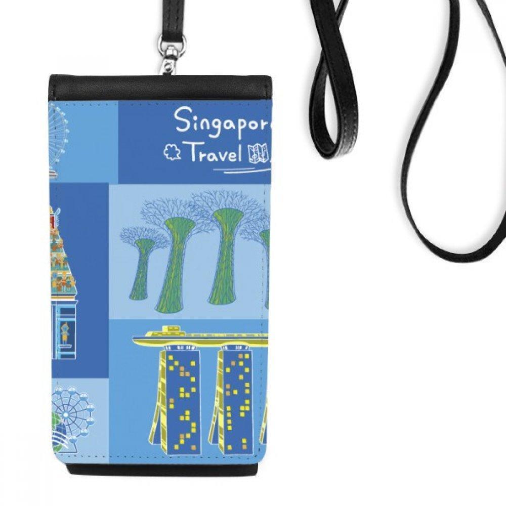 Singapore Travel Landmark Faux Leather Smartphone Hanging Purse Black Phone Wallet Gift