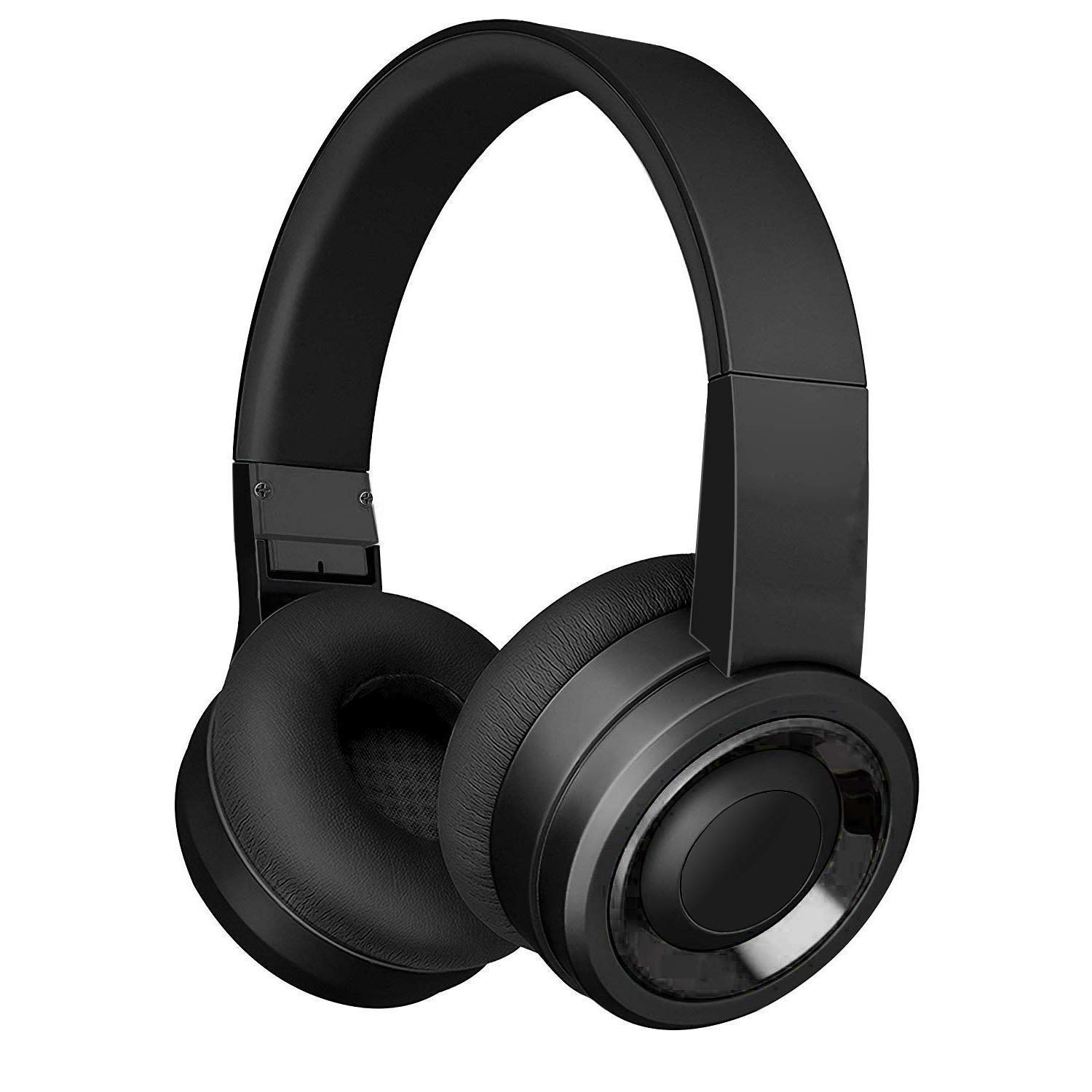 Bluetooth Headphones with Built-in Mic, Wireless and Wired Over-Ear Headset with Comfortable Earpad for PC, Tablets and Smartphones (Black)