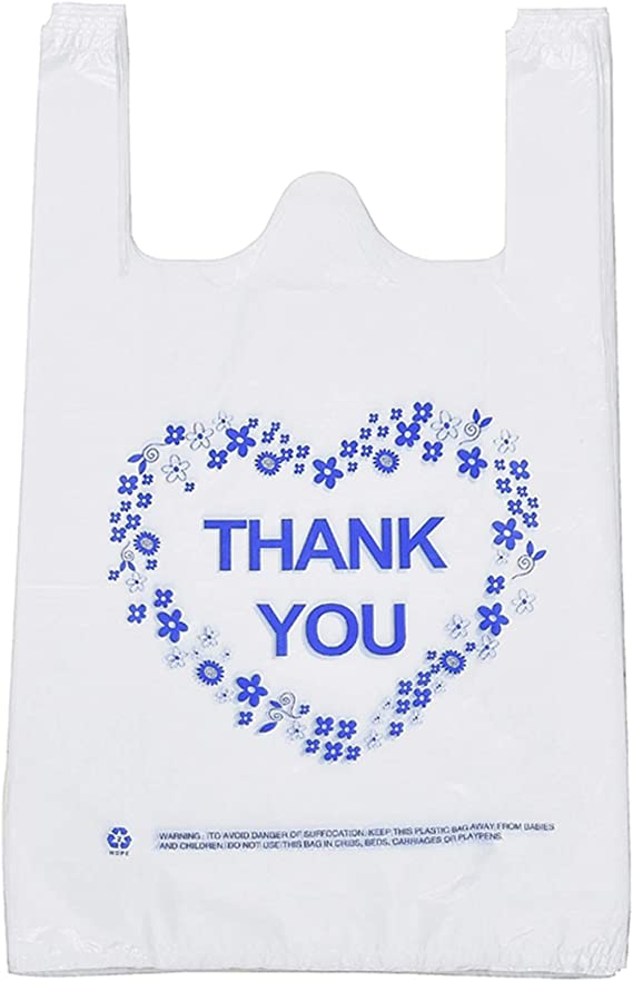 100pcs Carry Out Retail Supermarket Grocery White Plastic Shopping Bags Home Garden Gift Wrapping Supplies