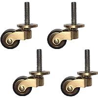 """Solid Brass Casters Wheels,1"""" Furniture Swivel Caster Wheels,Antique Style Rubber Swivel Wheels,Heavy Duty Castors for…"""