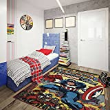 Captain America Comic Poster Area Rug, Retro Style Boy's Bedroom Rug, Colorful and Vibrant Digital Printed Super Hero Rug that is Non Skid and Slip Resistant, Measures 4'6″ x 6'6″ Review