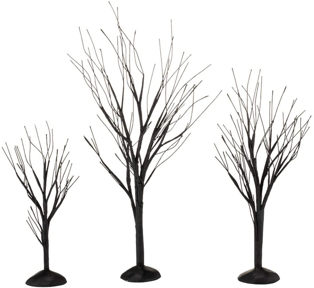 Department 56 Halloween Accessories for Village Collections Bare Branch Trees Figurine Set, Multiple Sizes, Black