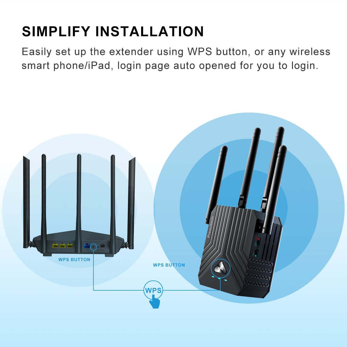 Amazon.com: Prescitech AC1200 Dual Band WiFi Range Extender/Wireless ...