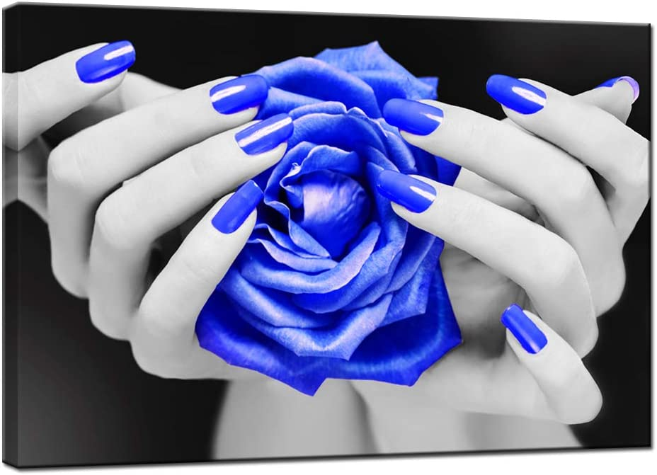 LevvArts Modern Canvas Wall Art Fashion Woman Nails Posters Black and Blue Rose Flower Pictures Painting for Beauty Salon Ladies Makeup Dressing Room Decor Ready to Hang