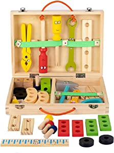 FLERISE Wooden Tool Toy Toolbox Toddler Educational Construction Kids Toys Play Accessories Set Creative Gift for 3 Year Olds and Up Boys Girls
