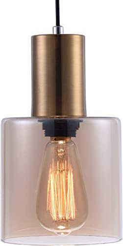 Modern Kitchen Pendant Light with Hand Blown Amber Cylindrical Glass Shade, One-Light Adjustable Mid Century Edison Mini Pendant Lighting Fixture for Kitchen Island Dining Room Bar Cafe,Brushed Brass