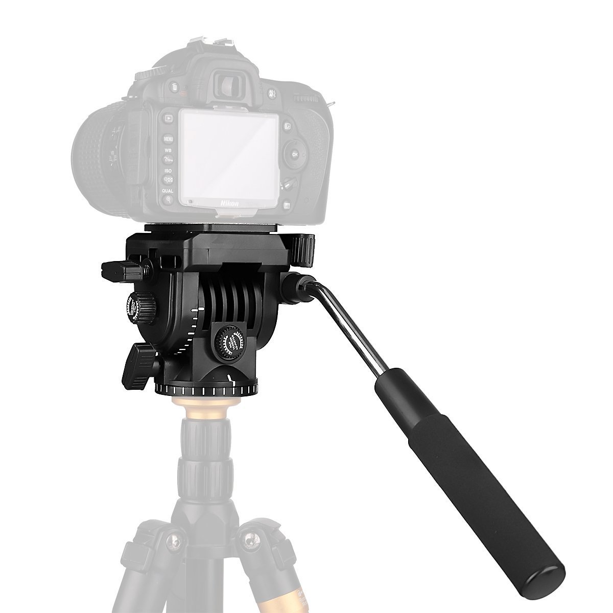 Fluid Head,pangshi VT-1510 Video Camera Tripod Action Fluid Drag Pan Head with 1/4'' Screws Sliding Plate for Canon Nikon Sony DSLR Camera Camcorder Shooting Filming by pangshi