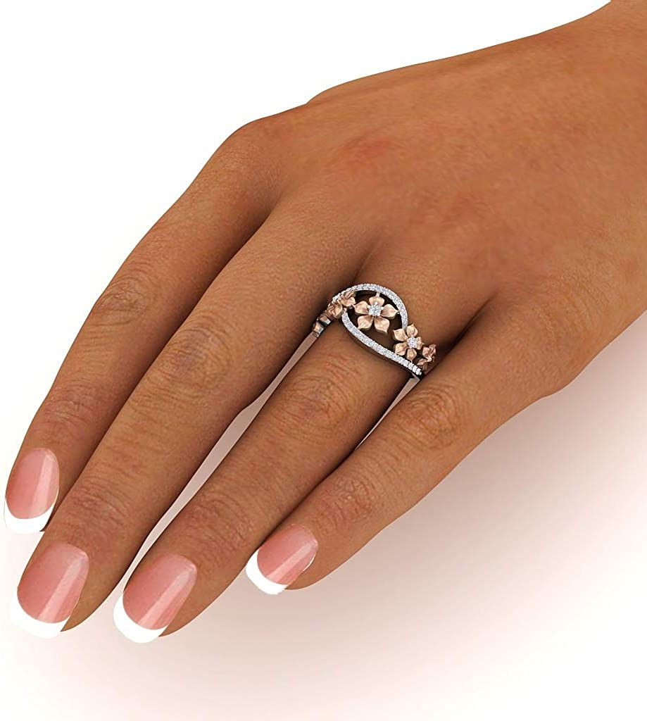 HOTSKULL 925 Sterling Silver Floral Ring Two Tone Vintage 18K Rose Gold Flowers Diamond Jewelry Christmas Proposal Gift Wedding Band Rings