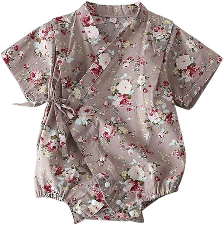 ARAUS Bimbo Pagliaccetti Tute Kimono Fiorale a Manica Corta da Neonato